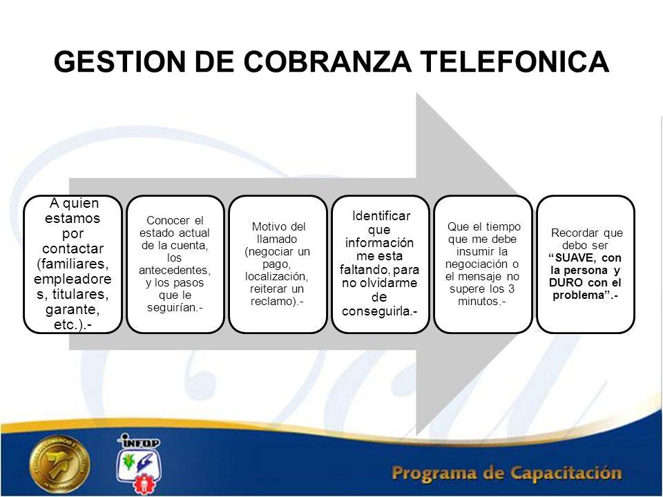 GESTION DE COBRANZA TELEFONICA A quien estamos por contactar (familiares, empleadore s, titulares, garante, etc.).- Conocer el estado actual de la cue