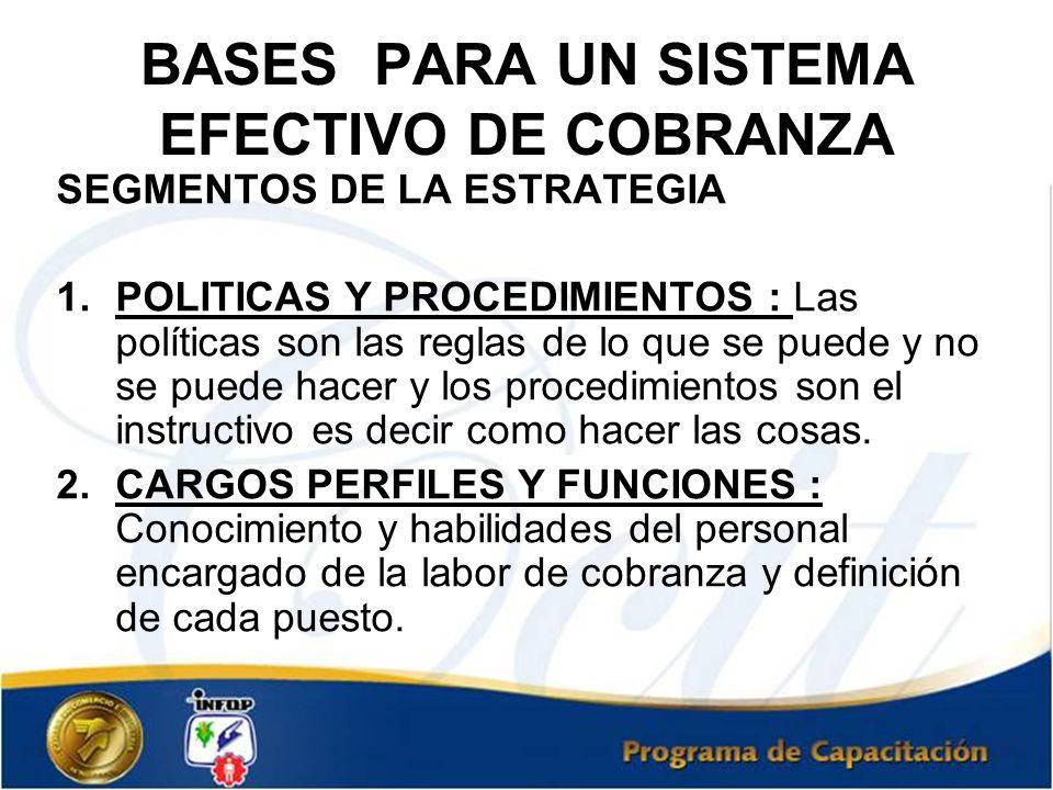 BASES PARA UN SISTEMA EFECTIVO DE COBRANZA SEGMENTOS DE LA ESTRATEGIA 1.POLITICAS Y PROCEDIMIENTOS : Las políticas son las reglas de lo que se puede y