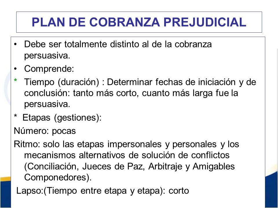 PLAN DE COBRANZA PREJUDICIAL Debe ser totalmente distinto al de la cobranza persuasiva.