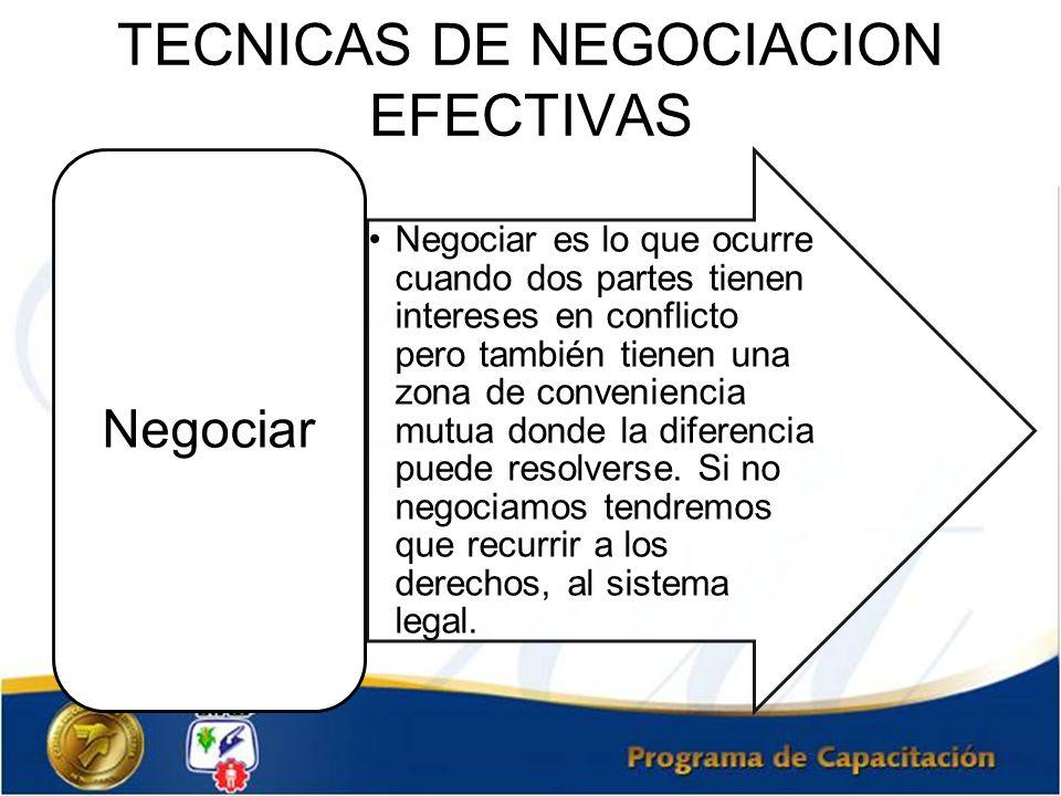 Negociar es lo que ocurre cuando dos partes tienen intereses en conflicto pero también tienen una zona de conveniencia mutua donde la diferencia puede
