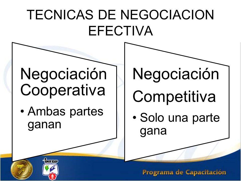 TECNICAS DE NEGOCIACION EFECTIVA Negociación Cooperativa Ambas partes ganan Negociación Competiti va Solo una parte gana