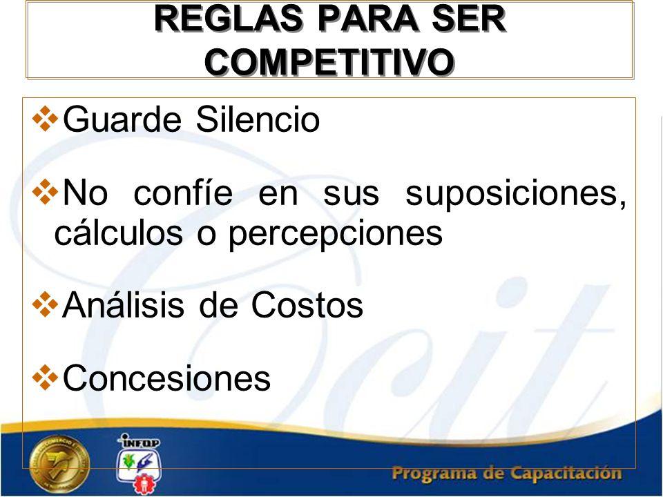 REGLAS PARA SER COMPETITIVO Guarde Silencio No confíe en sus suposiciones, cálculos o percepciones Análisis de Costos Concesiones