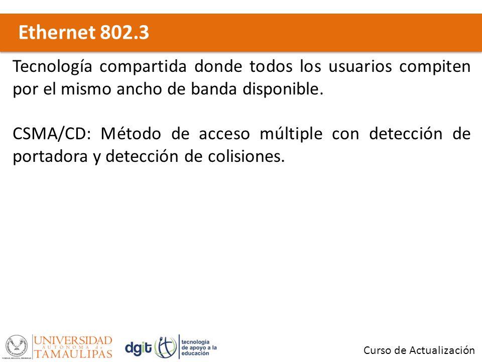 Ethernet 802.3 Curso de Actualización Tecnología compartida donde todos los usuarios compiten por el mismo ancho de banda disponible. CSMA/CD: Método