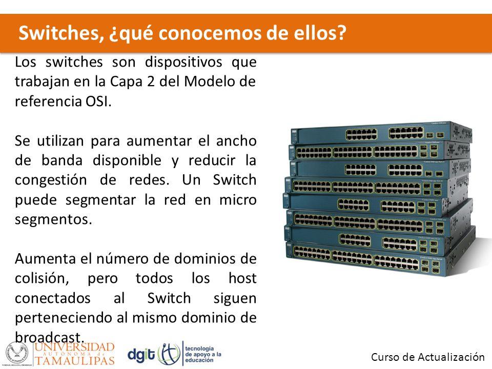 Switches, ¿qué conocemos de ellos? Curso de Actualización Los switches son dispositivos que trabajan en la Capa 2 del Modelo de referencia OSI. Se uti
