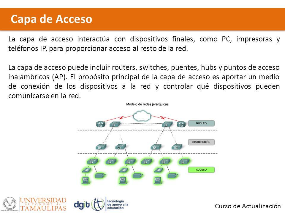 Capa de Acceso Curso de Actualización La capa de acceso interactúa con dispositivos finales, como PC, impresoras y teléfonos IP, para proporcionar acc