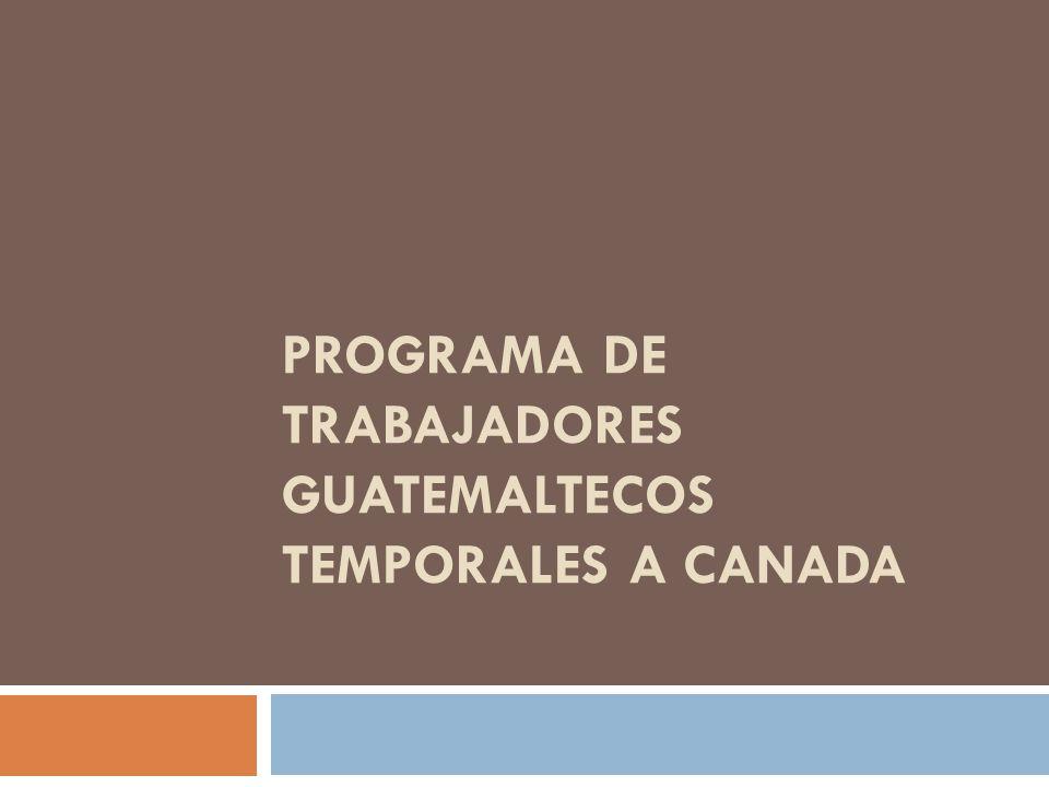 PROGRAMA DE TRABAJADORES GUATEMALTECOS TEMPORALES A CANADA
