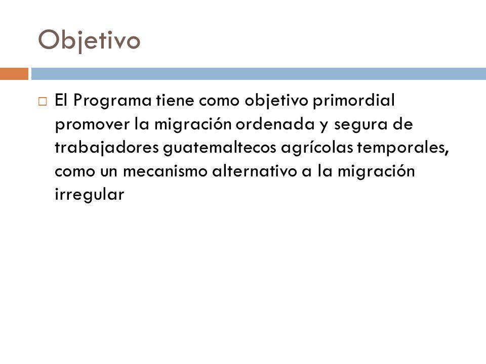 Objetivo El Programa tiene como objetivo primordial promover la migración ordenada y segura de trabajadores guatemaltecos agrícolas temporales, como un mecanismo alternativo a la migración irregular