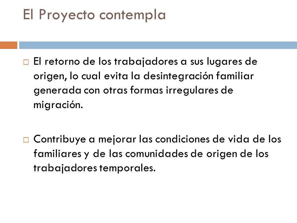 El Proyecto contempla El retorno de los trabajadores a sus lugares de origen, lo cual evita la desintegración familiar generada con otras formas irregulares de migración.