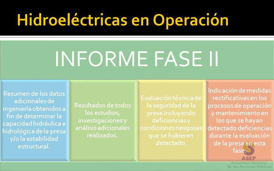 INFORME FASE II Resumen de los datos adicionales de ingeniería obtenidos a fin de determinar la capacidad hidráulica e hidrológica de la presa y/o la
