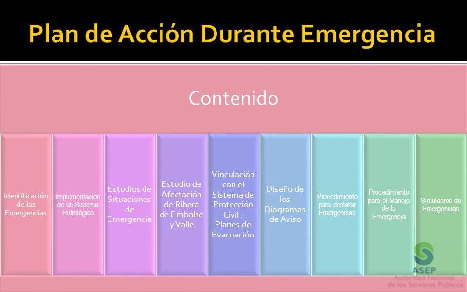 Contenido Identificación de las Emergencias Implementación de un Sistema Hidrológico Estudios de Situaciones de Emergencia Estudio de Afectación de Ri