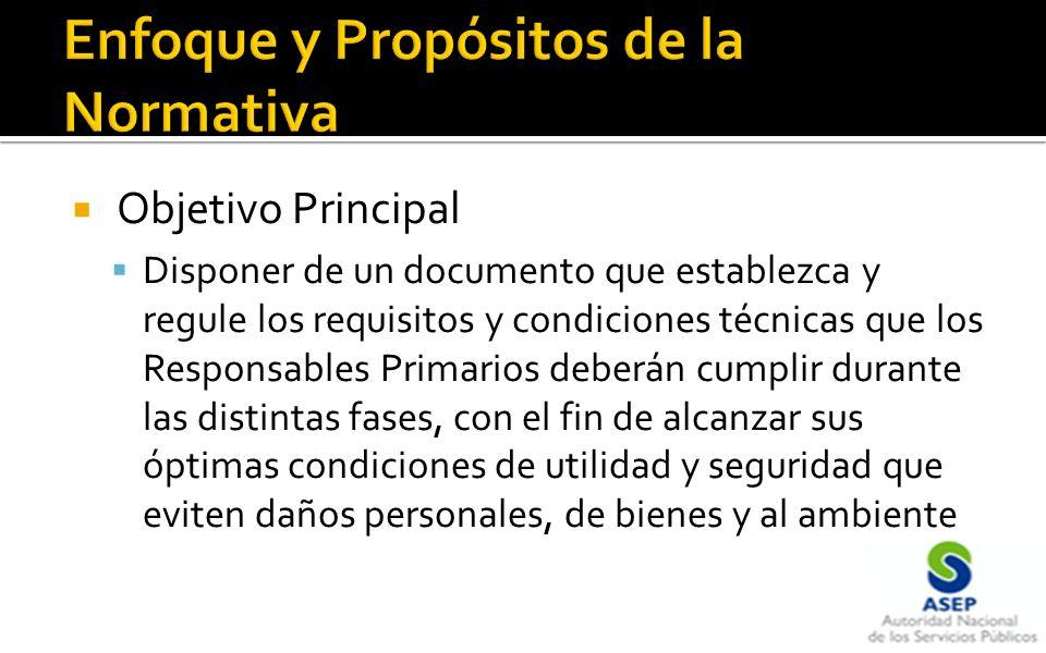 Objetivo Principal Disponer de un documento que establezca y regule los requisitos y condiciones técnicas que los Responsables Primarios deberán cumpl