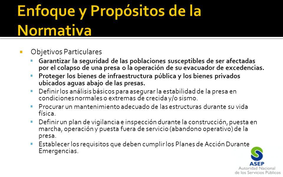 Objetivos Particulares Garantizar la seguridad de las poblaciones susceptibles de ser afectadas por el colapso de una presa o la operación de su evacuador de excedencias.