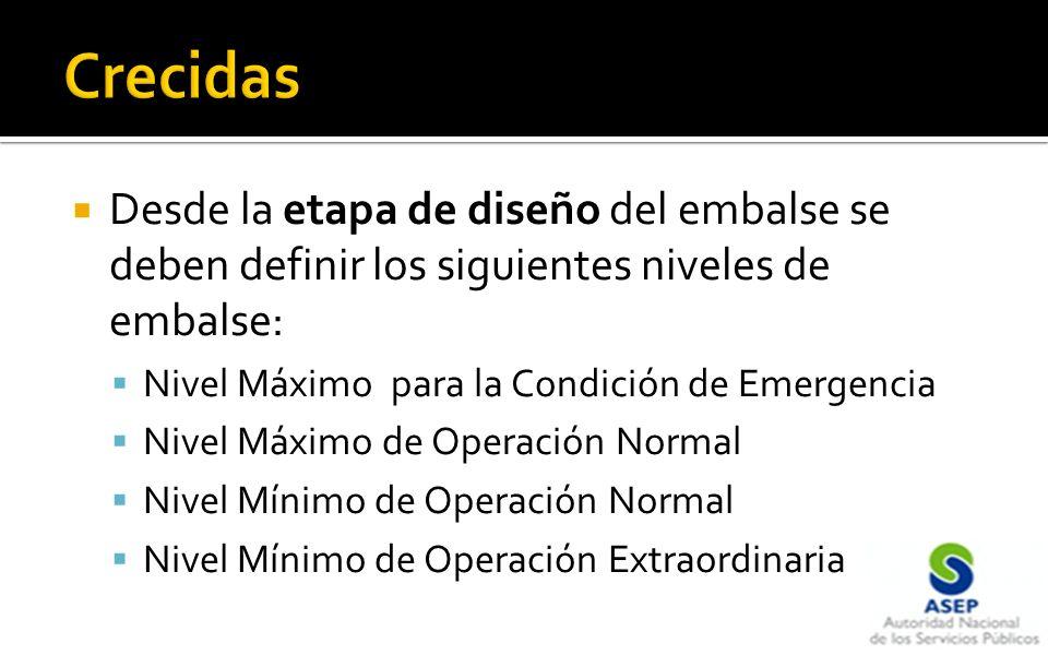 Desde la etapa de diseño del embalse se deben definir los siguientes niveles de embalse: Nivel Máximo para la Condición de Emergencia Nivel Máximo de Operación Normal Nivel Mínimo de Operación Normal Nivel Mínimo de Operación Extraordinaria