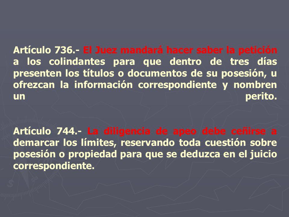 Artículo 736.- El Juez mandará hacer saber la petición a los colindantes para que dentro de tres días presenten los títulos o documentos de su posesió