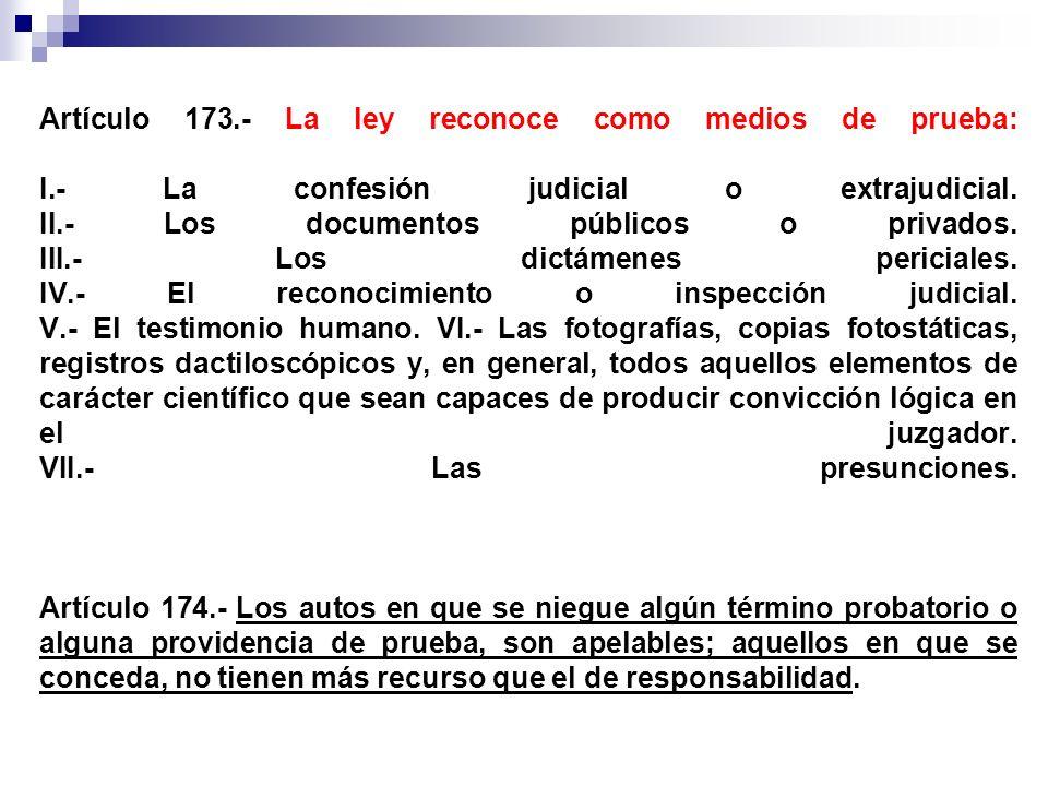 Artículo 173.- La ley reconoce como medios de prueba: I.- La confesión judicial o extrajudicial. II.- Los documentos públicos o privados. III.- Los di