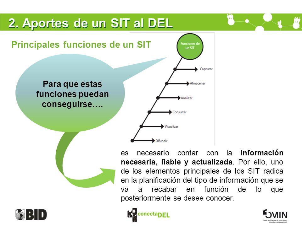 2. Aportes de un SIT al DEL Principales funciones de un SIT es necesario contar con la información necesaria, fiable y actualizada. Por ello, uno de l