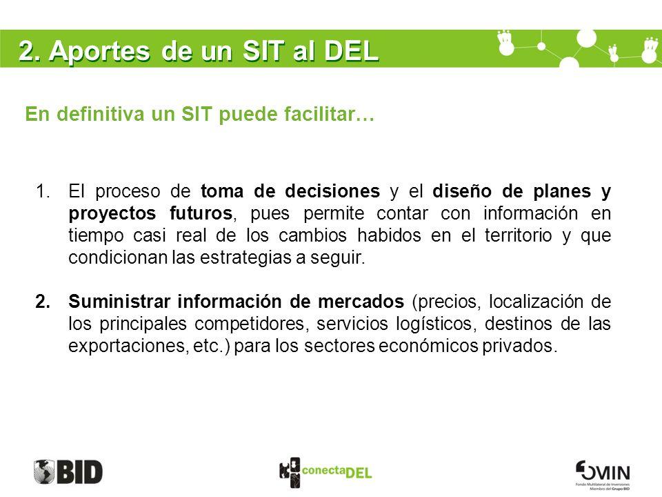 2. Aportes de un SIT al DEL En definitiva un SIT puede facilitar… 1.El proceso de toma de decisiones y el diseño de planes y proyectos futuros, pues p