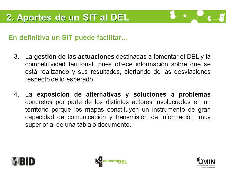 2. Aportes de un SIT al DEL En definitiva un SIT puede facilitar… 3.La gestión de las actuaciones destinadas a fomentar el DEL y la competitividad ter