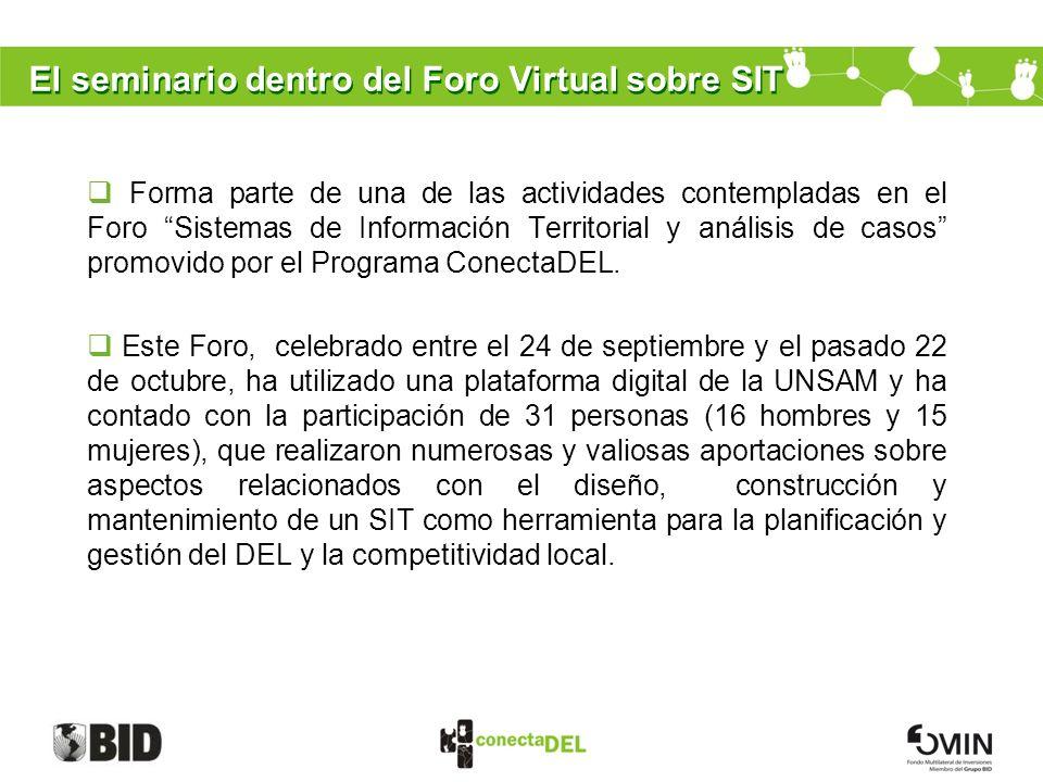El seminario dentro del Foro Virtual sobre SIT Forma parte de una de las actividades contempladas en el Foro Sistemas de Información Territorial y aná