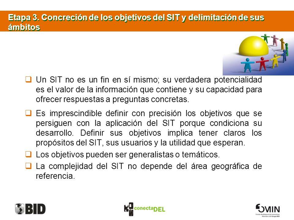 Etapa 3. Concreción de los objetivos del SIT y delimitación de sus ámbitos Un SIT no es un fin en sí mismo; su verdadera potencialidad es el valor de