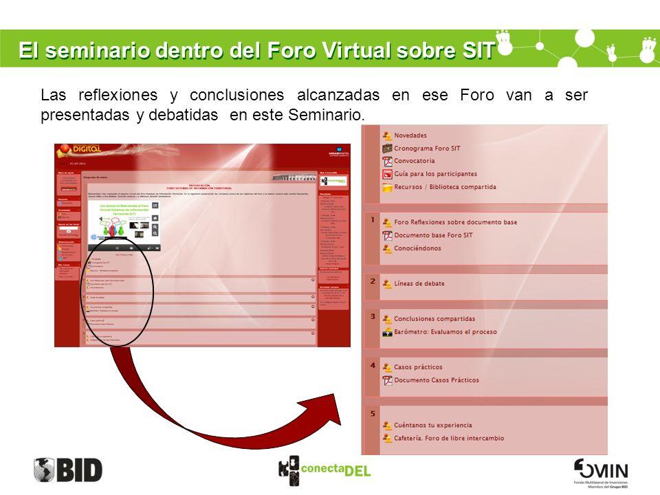 El seminario dentro del Foro Virtual sobre SIT Las reflexiones y conclusiones alcanzadas en ese Foro van a ser presentadas y debatidas en este Seminar