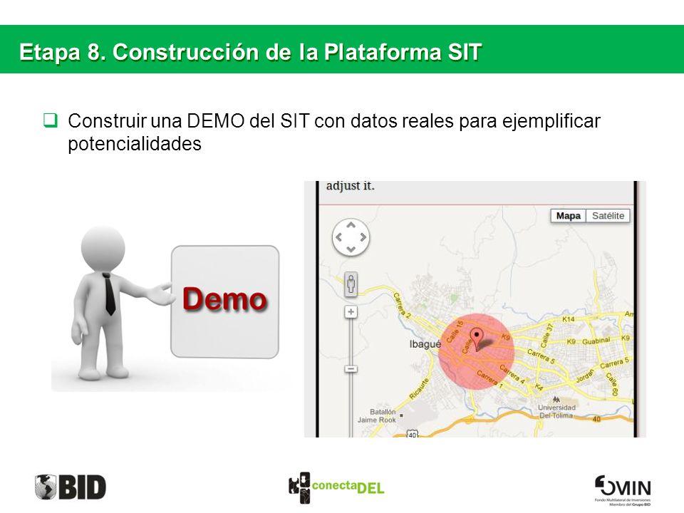 Etapa 8. Construcción de la Plataforma SIT Construir una DEMO del SIT con datos reales para ejemplificar potencialidades