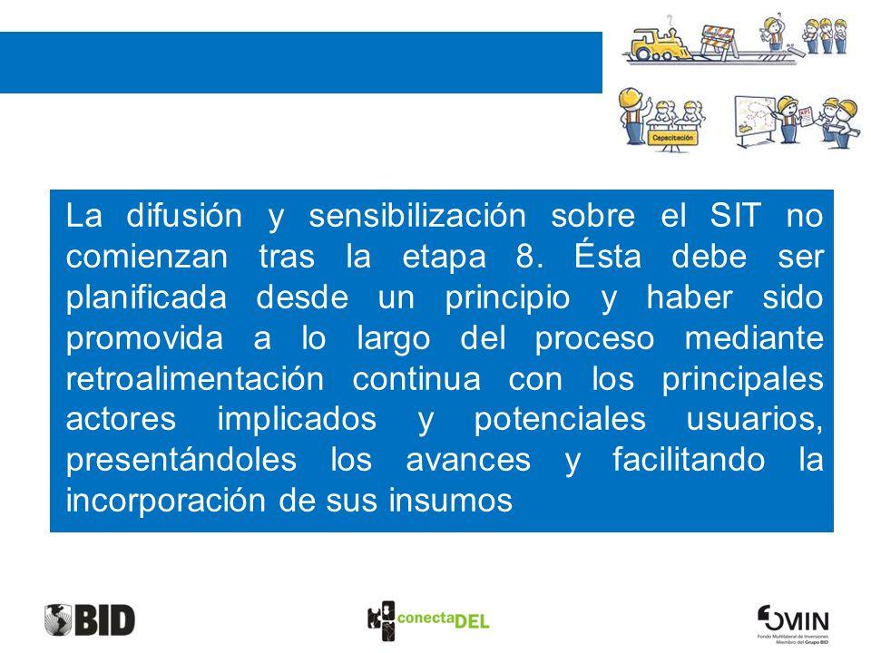 FASE III: DIFUSION La difusión y sensibilización sobre el SIT no comienzan tras la etapa 8. Ésta debe ser planificada desde un principio y haber sido