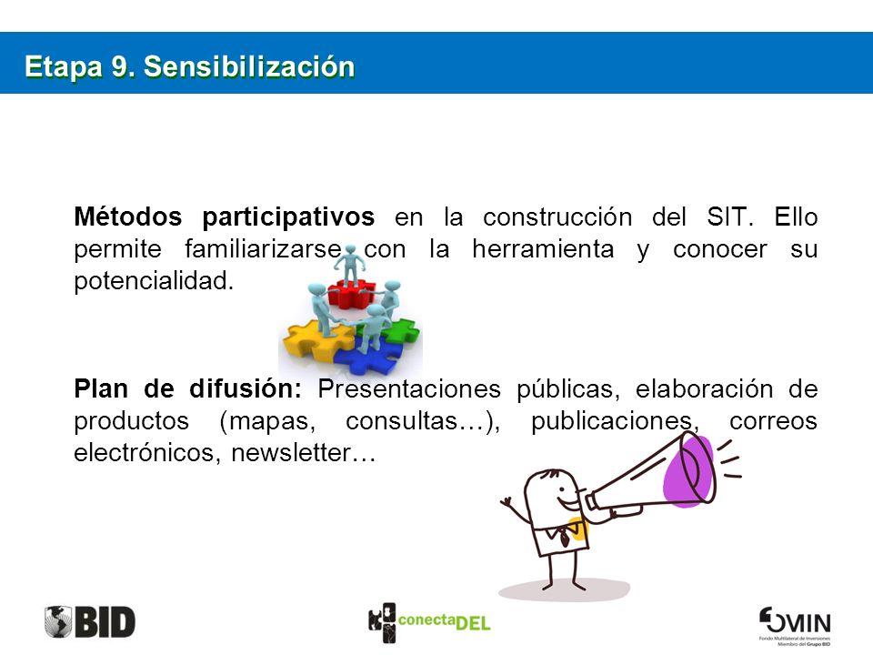 Etapa 9. Sensibilización Métodos participativos en la construcción del SIT. Ello permite familiarizarse con la herramienta y conocer su potencialidad.