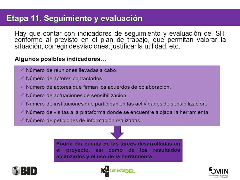 Etapa 11. Seguimiento y evaluación Hay que contar con indicadores de seguimiento y evaluación del SIT conforme al previsto en el plan de trabajo, que