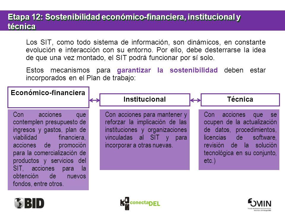 Etapa 12: Sostenibilidad económico-financiera, institucional y técnica Los SIT, como todo sistema de información, son dinámicos, en constante evolució
