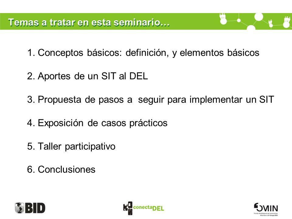 Temas a tratar en esta seminario… 1. Conceptos básicos: definición, y elementos básicos 2. Aportes de un SIT al DEL 3. Propuesta de pasos a seguir par