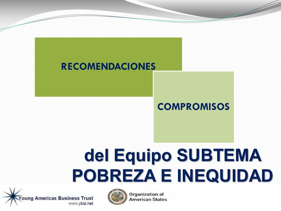 RECOMENDACIONES COMPROMISOS del Equipo SUBTEMA POBREZA E INEQUIDAD