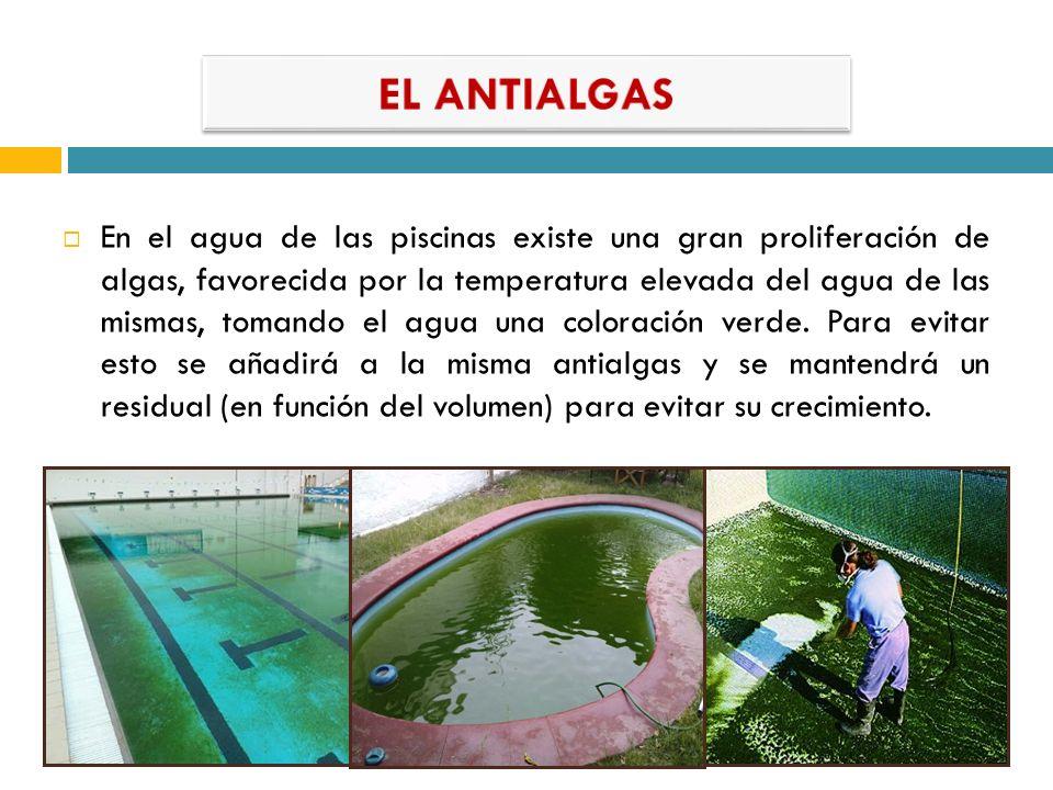 En el agua de las piscinas existe una gran proliferación de algas, favorecida por la temperatura elevada del agua de las mismas, tomando el agua una c