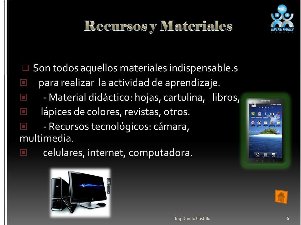 Son todos aquellos materiales indispensable.s para realizar la actividad de aprendizaje.