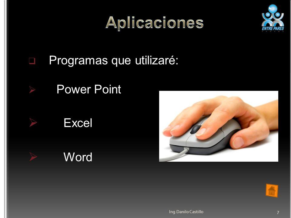 Programas que utilizaré: Power Point Excel Word Ing.Danilo Castillo 7