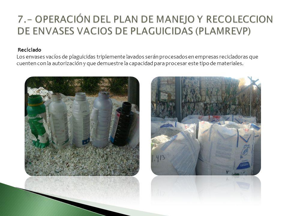 Reciclado Los envases vacíos de plaguicidas triplemente lavados serán procesados en empresas recicladoras que cuenten con la autorización y que demues