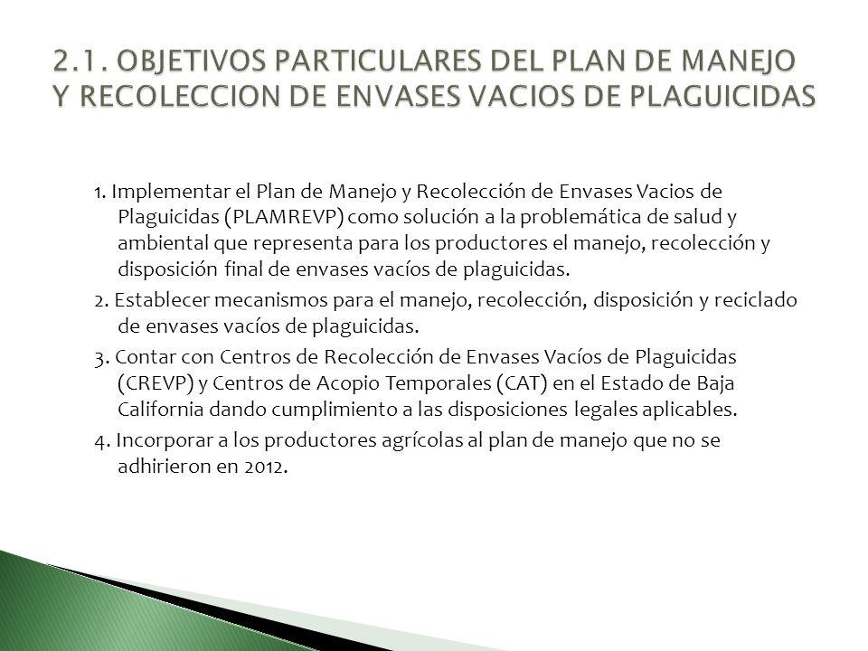 1. Implementar el Plan de Manejo y Recolección de Envases Vacios de Plaguicidas (PLAMREVP) como solución a la problemática de salud y ambiental que re