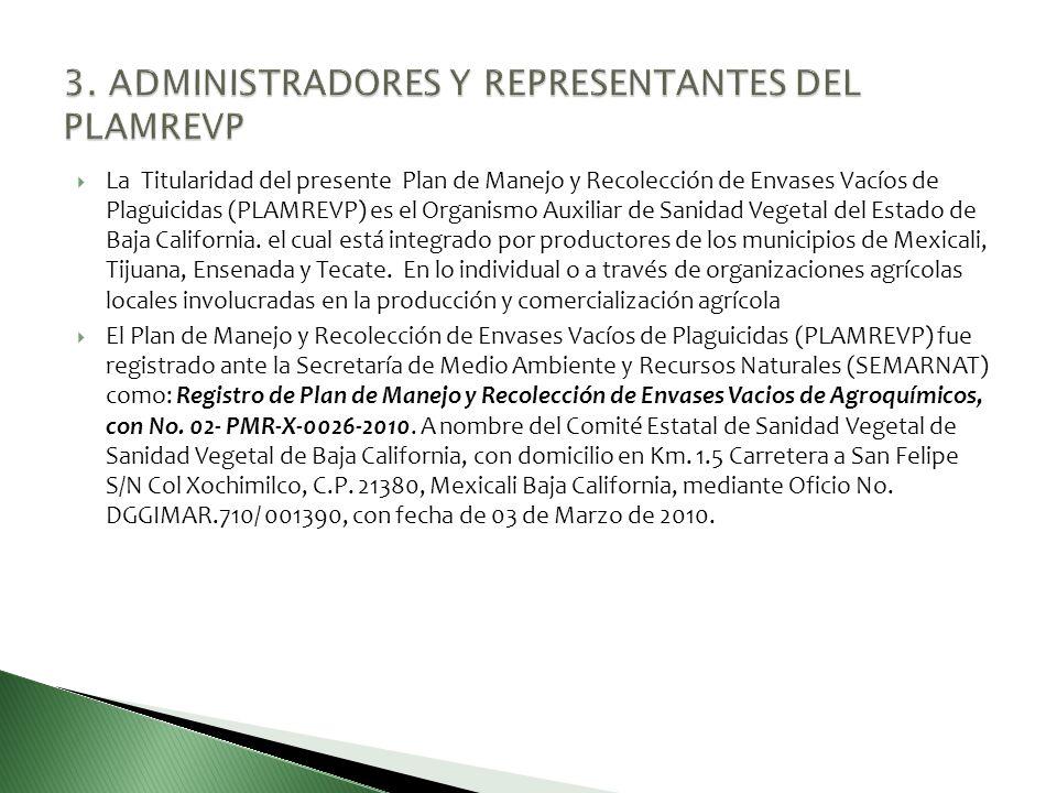 La Titularidad del presente Plan de Manejo y Recolección de Envases Vacíos de Plaguicidas (PLAMREVP) es el Organismo Auxiliar de Sanidad Vegetal del E
