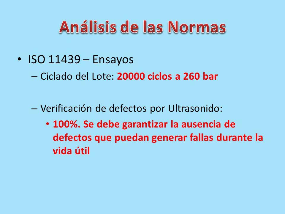 ISO 11439 – Ensayos – Ciclado del Lote: 20000 ciclos a 260 bar – Verificación de defectos por Ultrasonido: 100%. Se debe garantizar la ausencia de def