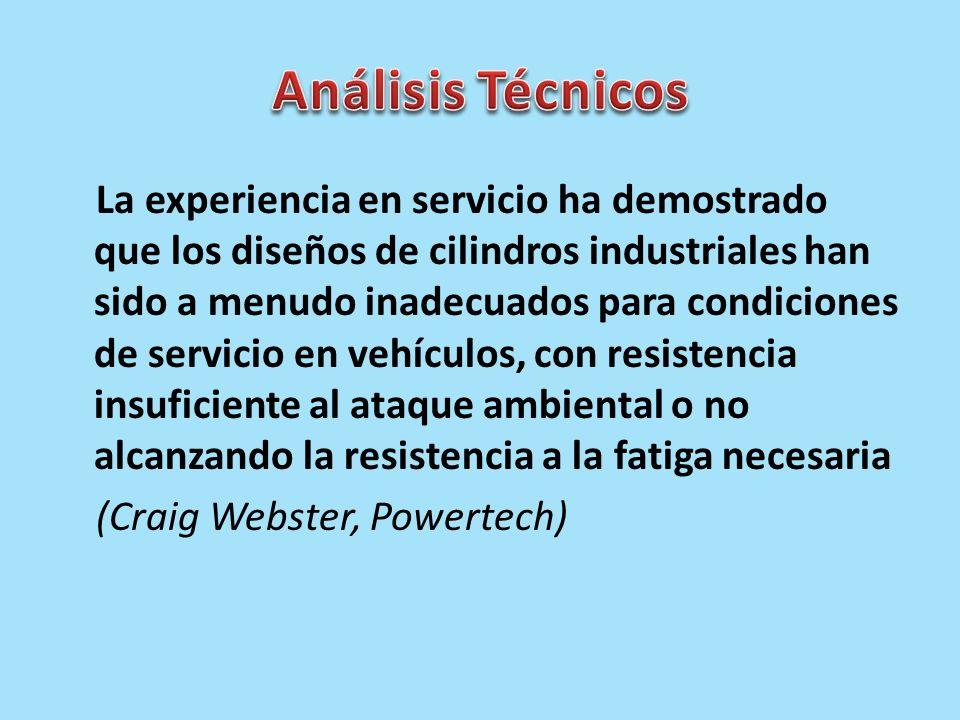 La experiencia en servicio ha demostrado que los diseños de cilindros industriales han sido a menudo inadecuados para condiciones de servicio en vehíc