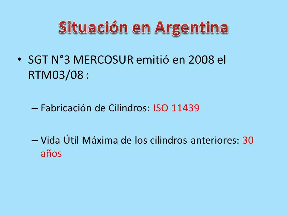 SGT N°3 MERCOSUR emitió en 2008 el RTM03/08 : – Fabricación de Cilindros: ISO 11439 – Vida Útil Máxima de los cilindros anteriores: 30 años