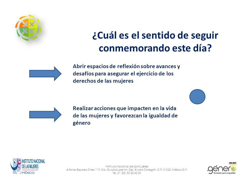 ¿Cómo surgió esta conmemoración.Instituto Nacional de las Mujeres Alfonso Esparza Oteo 119, Col.