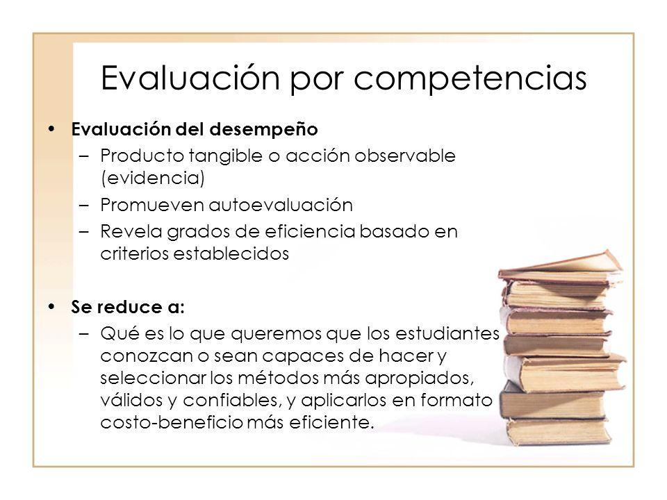 Evaluación por competencias Evaluación del desempeño –Producto tangible o acción observable (evidencia) –Promueven autoevaluación –Revela grados de ef