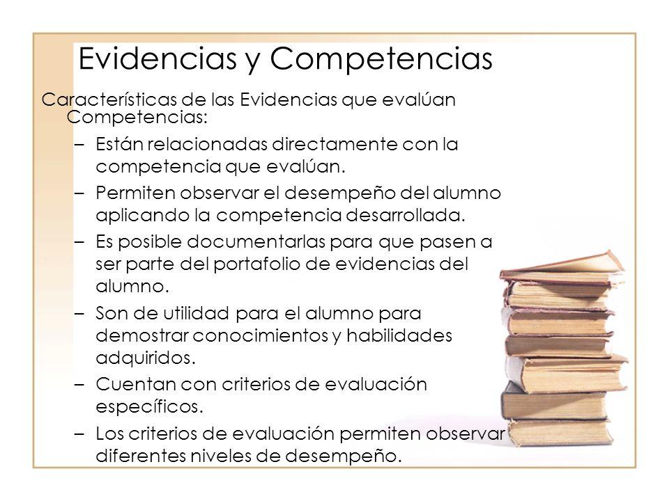Características de las Evidencias que evalúan Competencias: –Están relacionadas directamente con la competencia que evalúan. –Permiten observar el des
