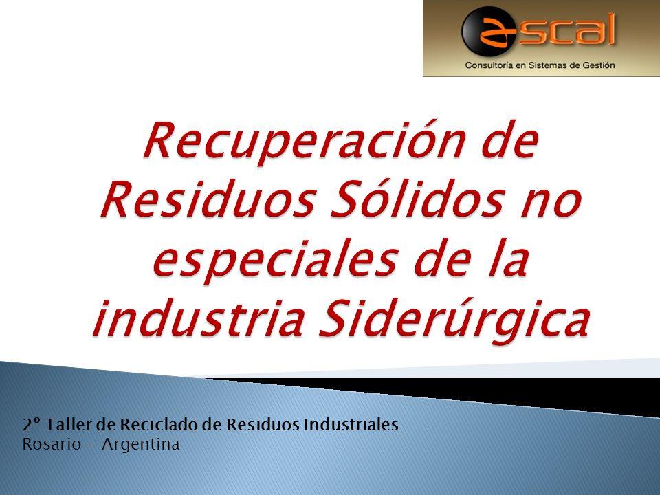 Residuos Sólidos Industriales Transformación Materiales aptos para reutilizar Proceso de Reciclado 2º Taller de Reciclado de Residuos Industriales Rosario - Argentina