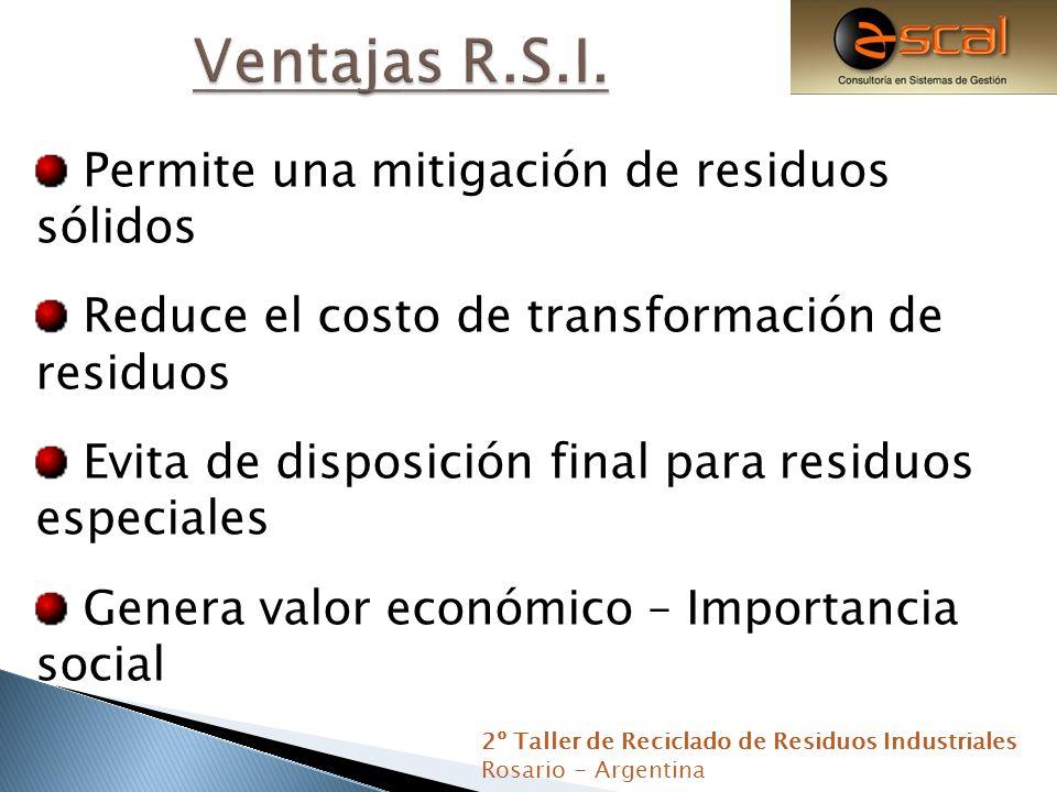 Permite una mitigación de residuos sólidos Reduce el costo de transformación de residuos Evita de disposición final para residuos especiales Genera va