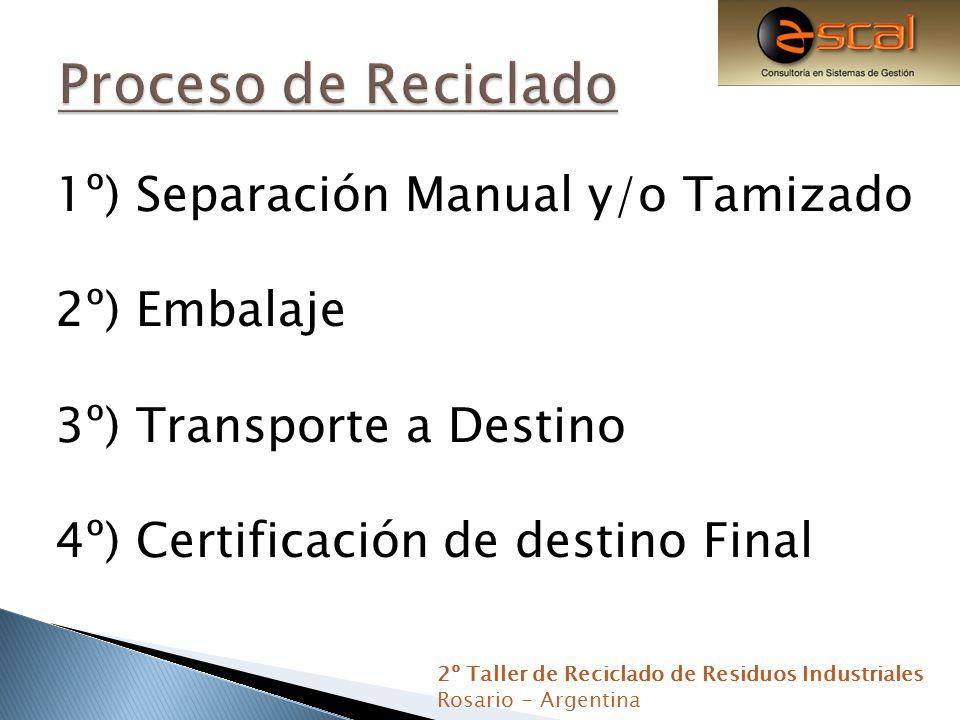 1º) Separación Manual y/o Tamizado 2º) Embalaje 3º) Transporte a Destino 4º) Certificación de destino Final 2º Taller de Reciclado de Residuos Industr