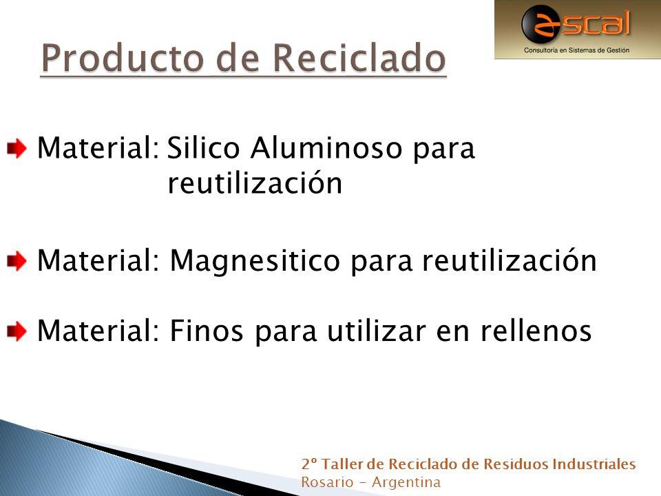 Material: Magnesitico para reutilización Material: Finos para utilizar en rellenos 2º Taller de Reciclado de Residuos Industriales Rosario - Argentina