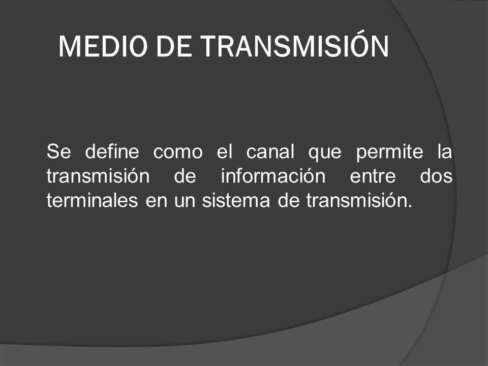 MEDIO DE TRANSMISIÓN Se define como el canal que permite la transmisión de información entre dos terminales en un sistema de transmisión.