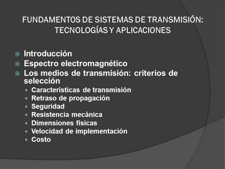 FUNDAMENTOS DE SISTEMAS DE TRANSMISIÓN: TECNOLOGÍAS Y APLICACIONES Introducción Espectro electromagnético Los medios de transmisión: criterios de sele